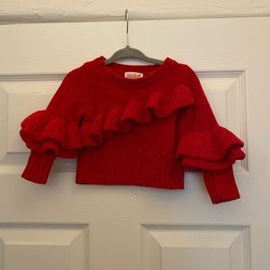 Cat & Jack RED RUFFLE Sweater